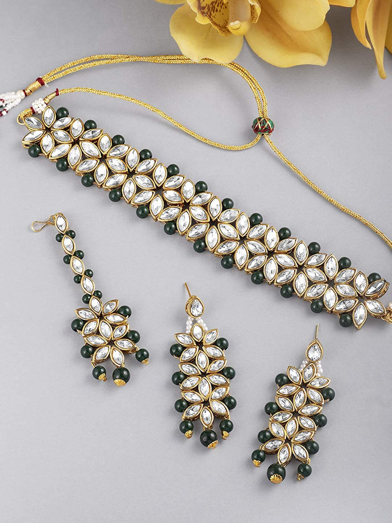 Traditional Gold Plated Bridal Choker Jewellery Set with Earrings & Maang Tikka for Women (IJ165G)