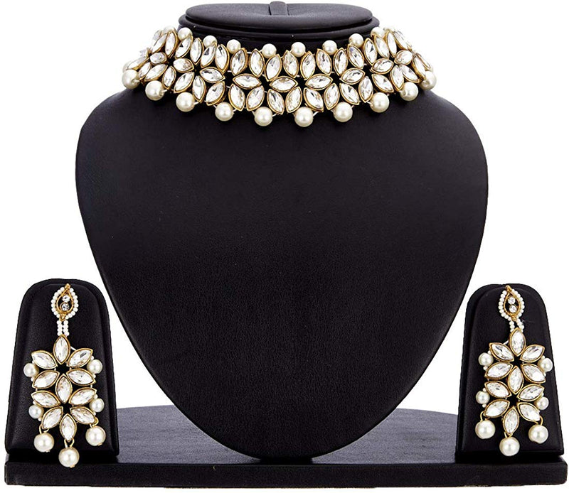 Traditional Gold Plated Bridal Choker Jewellery Set with Earrings & Maang Tikka for Women (IJ165W)