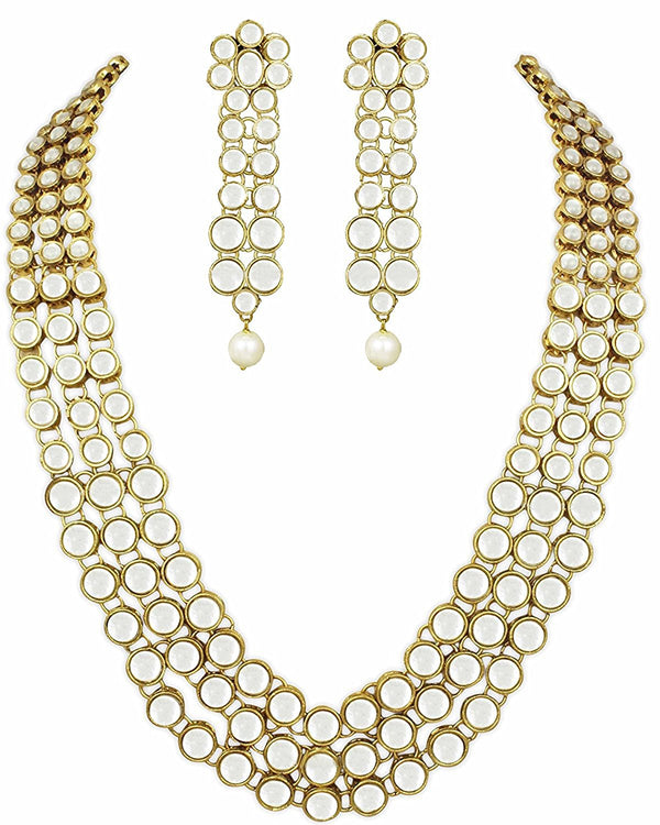 Gold Plated Anushka Sharma inspired Faux Three Layered Kundan Jewellery Set for Women