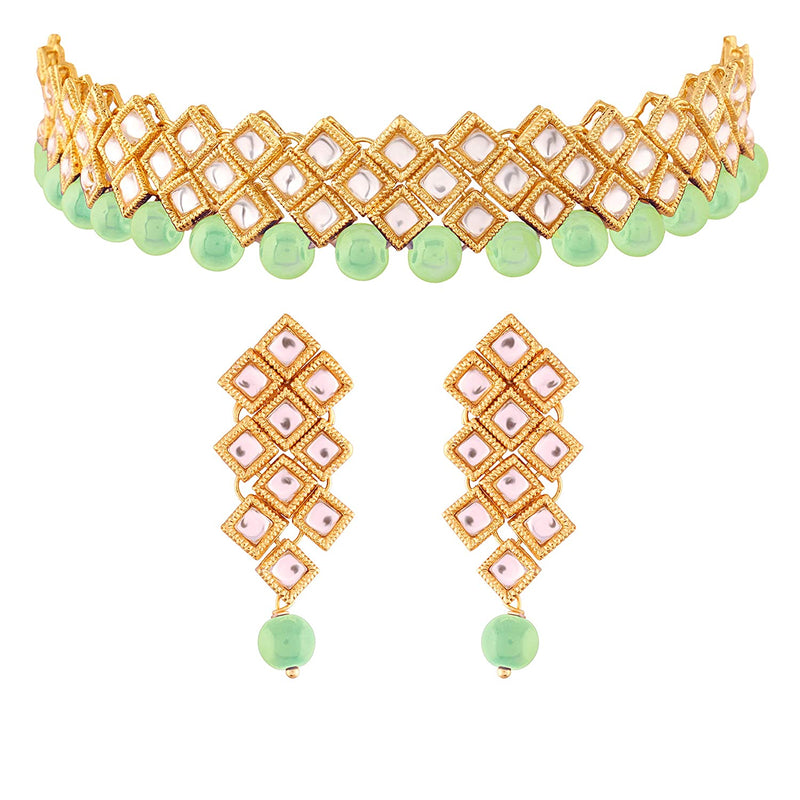 Traditional Kundan and Beads Choker Necklace Set for Women