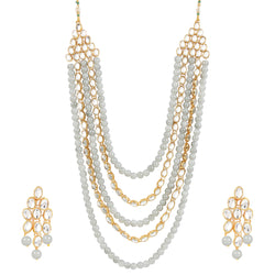 Gold Plated Kundan & Beads Multi-Strand Necklace Set with Earrings for Women (IJ318Gr)