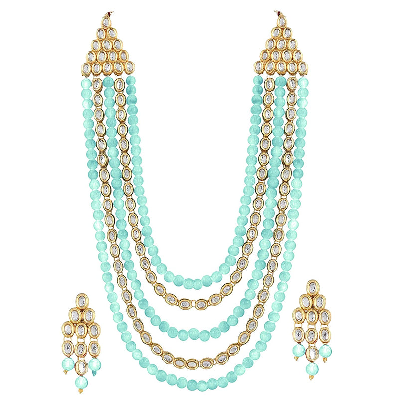 Gold Plated Kundan & Beads Multi-Strand Necklace Set with Earrings for Women (IJ318SB)