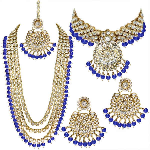 Traditional Gold Plated Kundan Pearl Bridal Necklace Set for Women (IJ325BL)