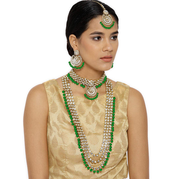 Traditional Gold Plated Kundan Pearl Bridal Necklace Set for Women (IJ325G)