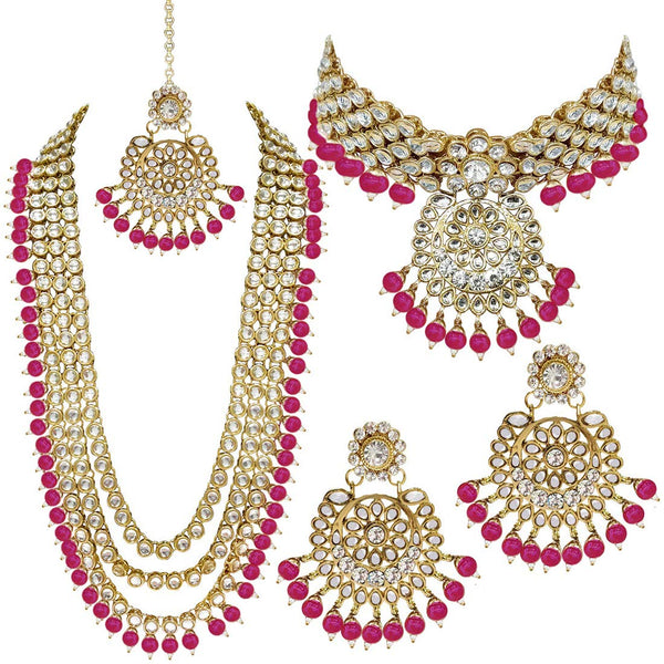 Traditional Gold Plated Kundan Pearl Bridal Necklace Set for Women (IJ325Q)