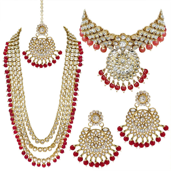 Traditional Gold Plated Kundan Pearl Bridal Necklace Set for Women (IJ325R)