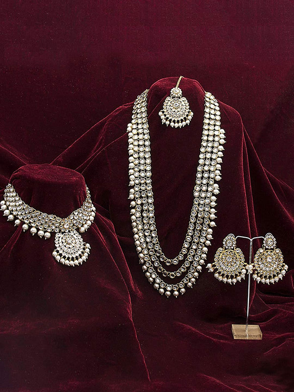 Traditional Gold Plated Kundan Pearl Bridal Necklace Set for Women (IJ325W)