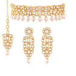 Traditional Gold Plated Kundan Stone Stuted and Beads Choker Necklace Set for Women