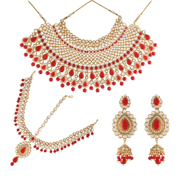 Gold Plated Traditional Handcrafted Faux Kundan Studded Bridal Jewellery Set Emblazoned with Earrings & Maang Tikka (IJ327R)