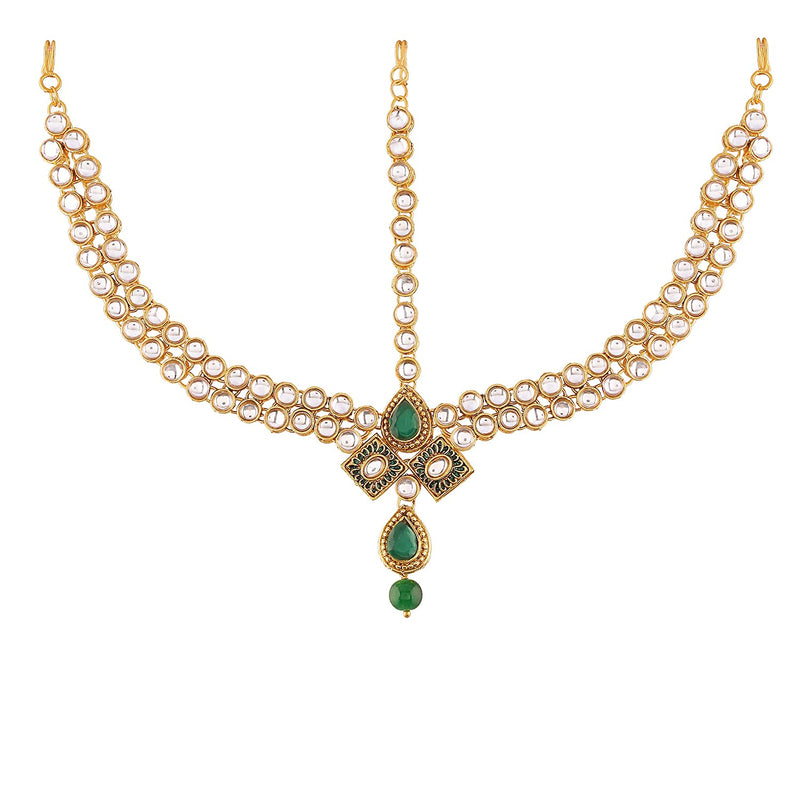 Traditional Gold Plated Kundan Pearl Bridal Choker Necklace Set Earrings & Matha Patti for Women