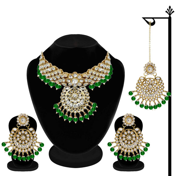 Traditional Gold Plated Kundan Pearl Choker Necklace Set Earrings & Maang Tikka for Women (IJ331G)