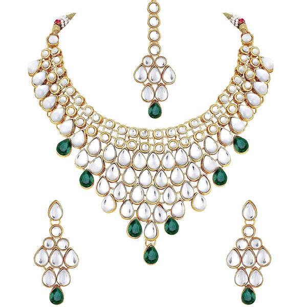 Traditional Gold Plated Kundan Bridal Choker Necklace Set Earrings & Maang Tikka for Women