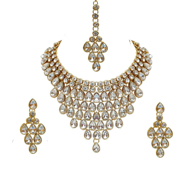 Traditional Gold Plated Kundan Bridal Choker Necklace Set Earrings & Maang Tikka for Women(IJ332W)