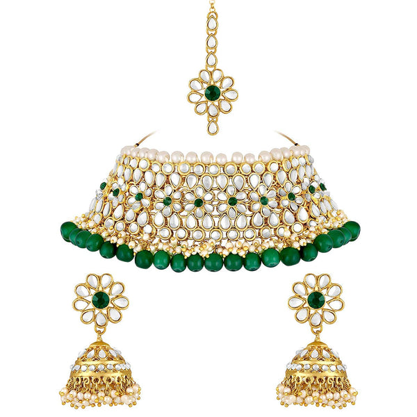 Gold Plated Traditional Kundan Pearl Choker Jewellery Set for Women