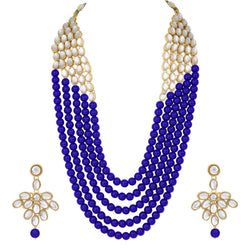 Collection of 5 Layer Faux Mother-of-Pearl and Kundan Rani Haar Necklace Jewellery Set with Earrings for Women (IJ350Bl)