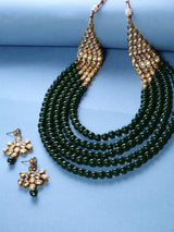 Collection of 5 Layer Faux Mother-of-Pearl and Kundan Rani Haar Necklace Jewellery Set with Earrings for Women (IJ350G)