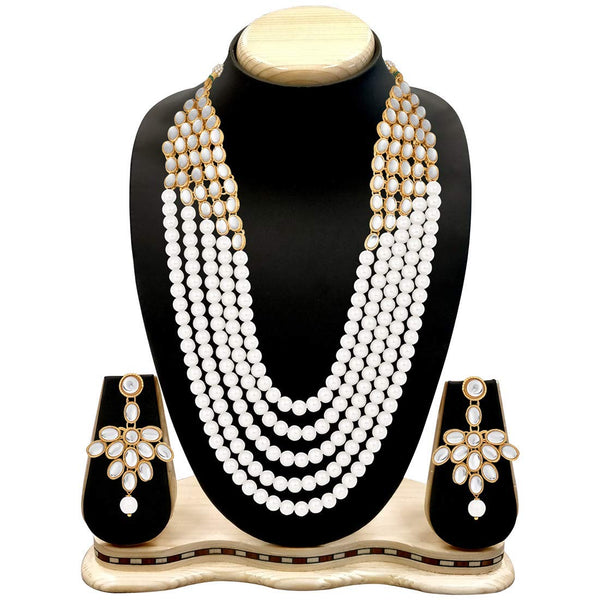 Collection of 5 Layer Faux Mother-of-Pearl and Kundan Rani Haar Necklace Jewellery Set with Earrings for Women (IJ350W)