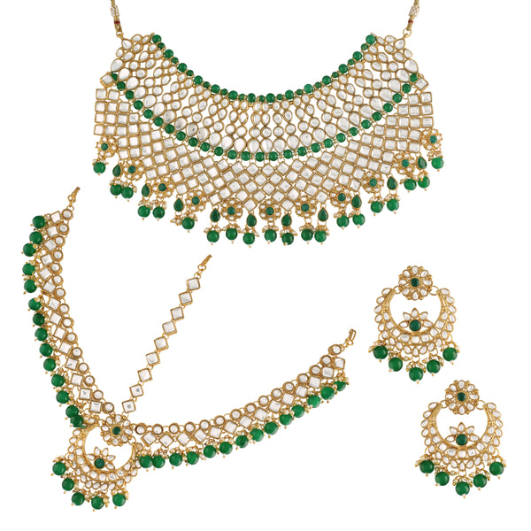 18K Gold Plated Traditional Handcrafted Faux Kundan Studded Bridal Jewellery Set with Earrings & Maang Tikka (IJ400G)