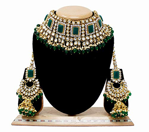 18K Gold Plated Traditional Handcrafted Faux Kundan & Pearl Studded Bridal Necklace Set with Earrings & Maang Tikka (IJ401G)