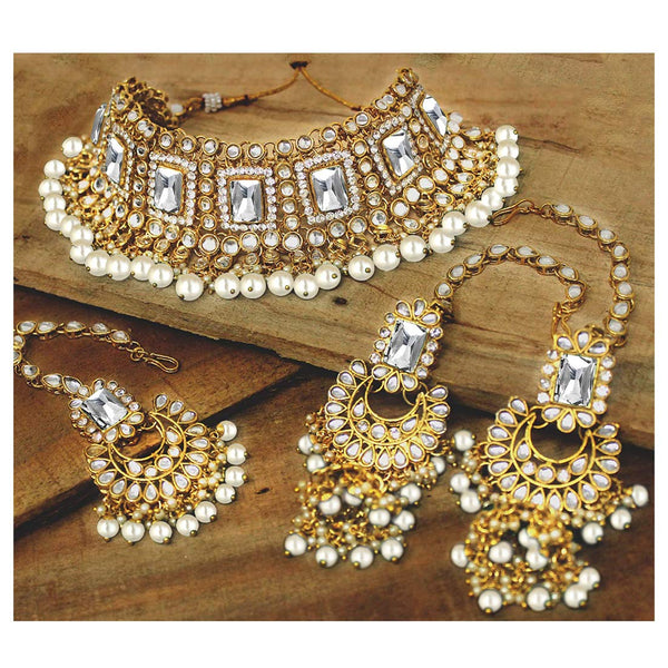 18K Gold Plated Traditional Handcrafted Faux Kundan & Pearl Studded Bridal Necklace Set with Earrings & Maang Tikka (IJ401W)