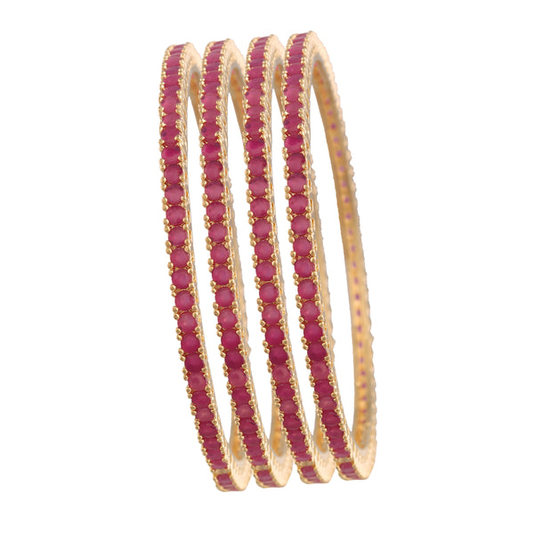18K Gold Plated Traditional Brass Bangles Encased With Ruby CZ American Diamonds For Women/Girls (ADB304M)
