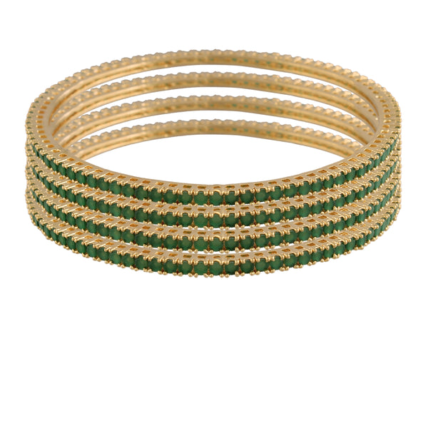 18K Gold Plated Traditional Green Emerald Round CZ/Diamond Bangles for Women/Girls (ADB304G)