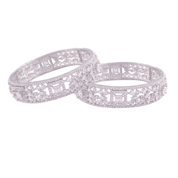 18K Silver Plated Thick Brass Bangles Encased With CZ American Diamonds For Women/Girls (ADB301S)