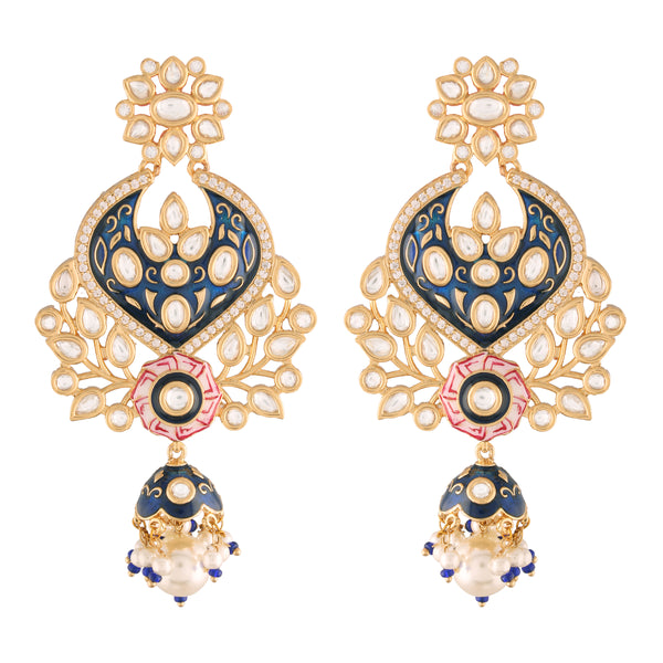 24K Gold Plated Intricately Designed Traditional Blue Enamel Glided With Uncut Polki Kundan Pearls Brass Earrings for Women