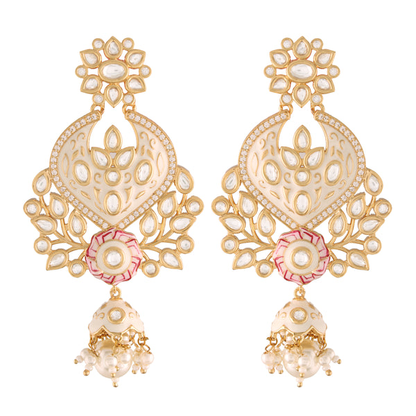 24K Gold Plated Intricately Designed Traditional White Enamel Glided With Uncut Polki Kundan Pearls Brass Earrings for Women