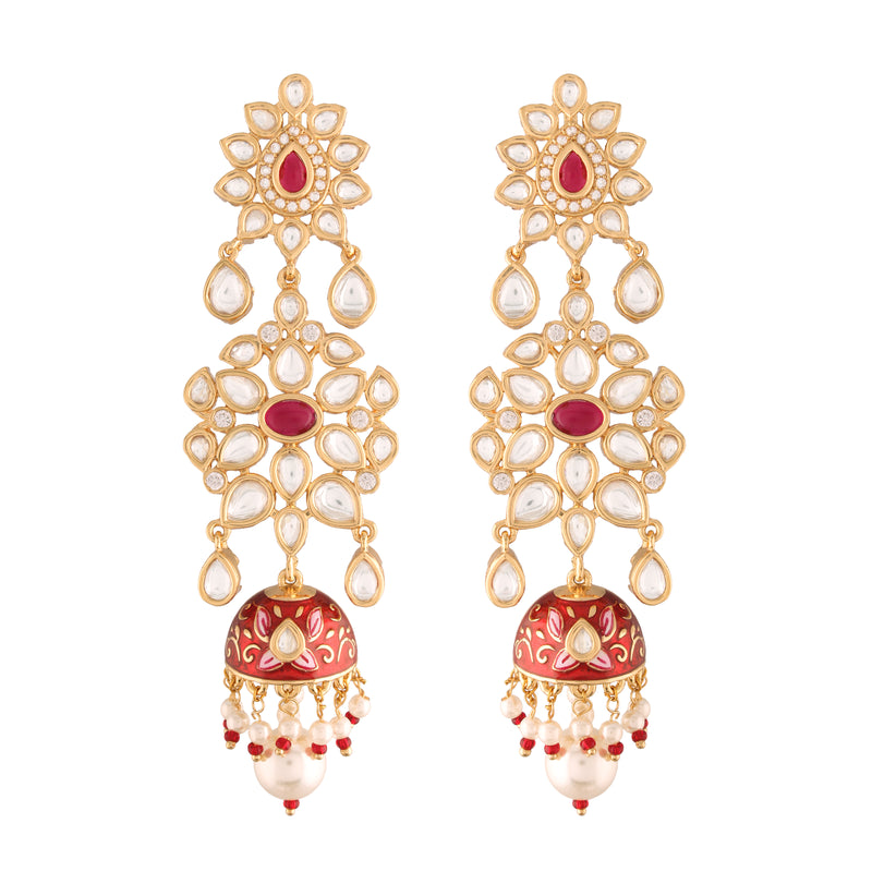 24K Gold Plated Intricately Designed Traditional Red Enamel Glided With Uncut Polki Kundan Pearls Brass Earrings for Women