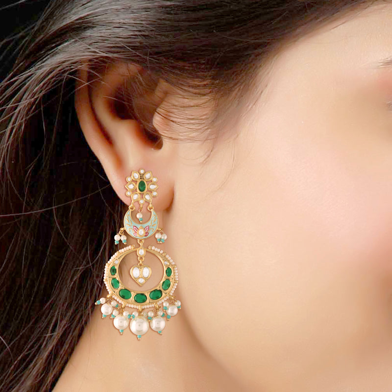 24K Gold Plated Intricately Designed Traditional Green  Enamel Glided With Uncut Polki Kundan Pearls Brass Earrings for Women