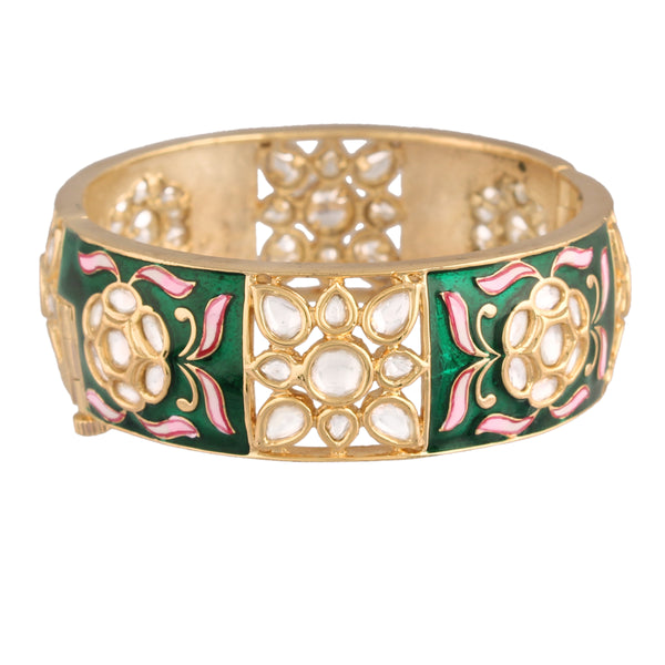 24K Gold Plated Intricately Handcrafted Beaded Green Enamel Brass Kada Glided With Uncut Polki Kundan For Women