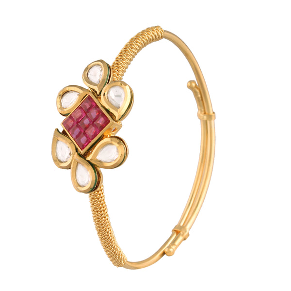 24K Gold Plated Intricately Handcrafted Square Shaped Ruby Adjustable Brass Bracelet/Kada Glided With Uncut Polki Kundan For Women
