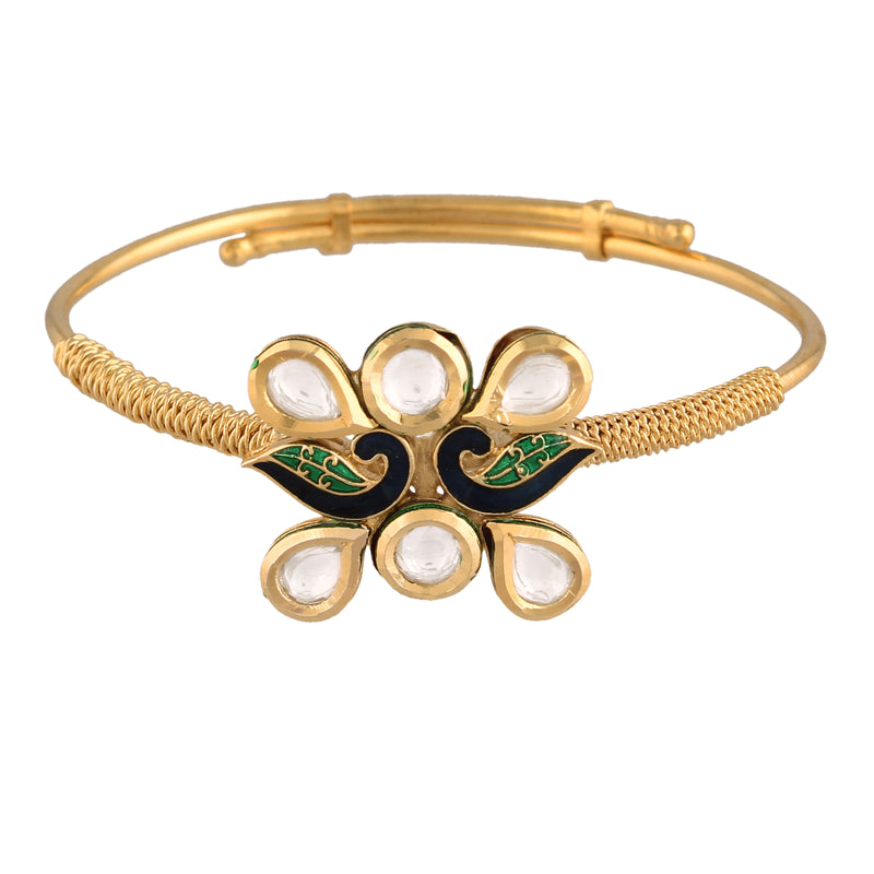 24K Gold Plated Intricately Handcrafted Peacock Shaped Enamel/Meenawork Adjustable Brass Bracelet/Kada Glided With Uncut Polki Kundan For Women(ADB202)
