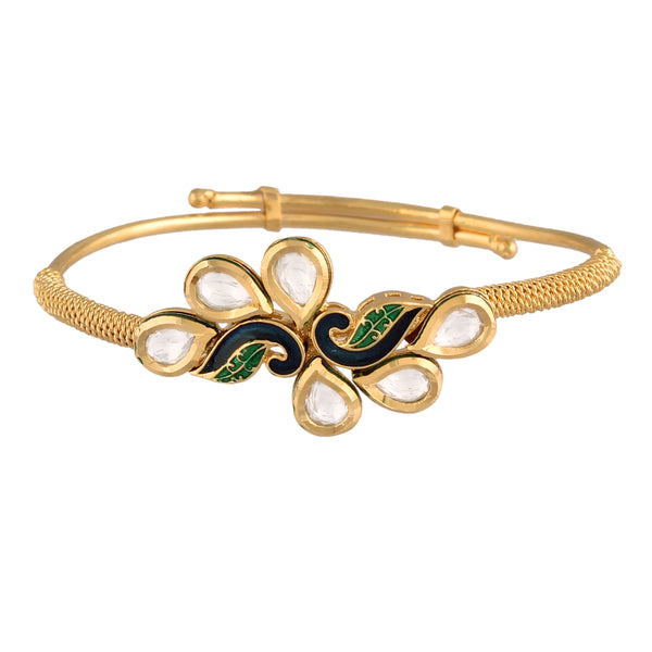 24K Gold Plated Intricately Handcrafted Peacock Shaped Enamel/Meenawork Adjustable Brass Bracelet/Kada Glided With Uncut Polki Kundan For Women (ADB204)