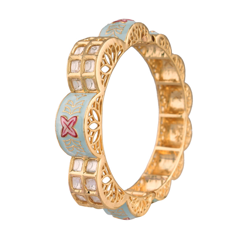 24K-Gold-Plated-Intricately-Handcrafted-Ivory-Enamel-Gajra-Brass-Kada-Glided-With-Uncut-Polki-Kundan-For-Women