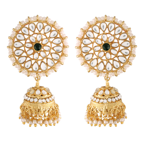 Traditional Gold Plated With Stunning Antique Finish Kundan & Pearl Jhumka Earrings With Maang Tikka for Women/Girls (TE2871G)