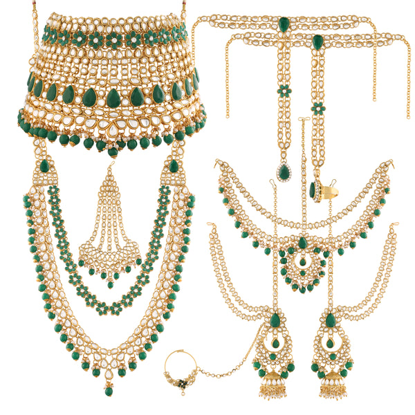 18K Gold Plated Traditional Handcrafted Faux Kundan & Emerald Stone Studded Bridal Jewellery Set For Women (BLP027G)