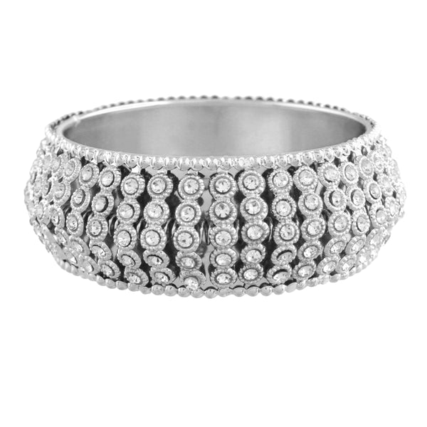 Silver Plated Intricately Handcrafted Kada Embellished with Stones For Women (ADB425S)
