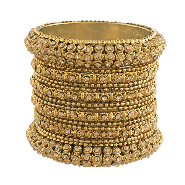 18K Gold Plated Intricately Designed Traditonal Bangles Set Embellished with stone for Girls and Women (ADB423)