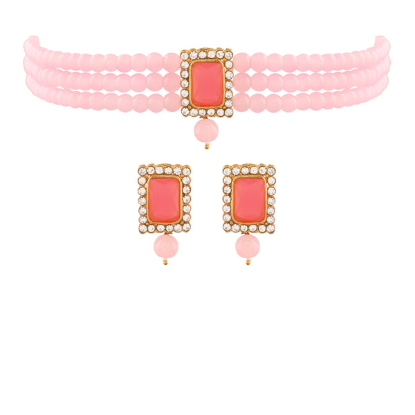 18K Gold Plated Traditional Handcrafted Beaded Pink Choker with Earrings for Women/Girls (ML237Pi)