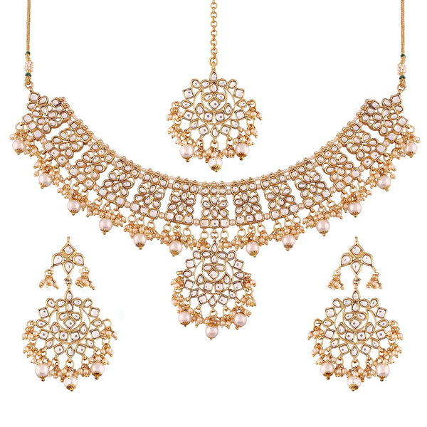 Traditional Gold Plated Kundan & Pearl Stylish Fancy Necklace Jewellery Set for Women
