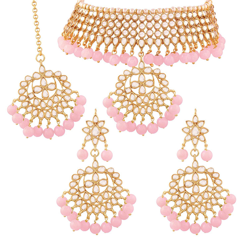 Traditional Gold Plated Kundan Pearl Fancy Choker Necklace Set for Women & Girls