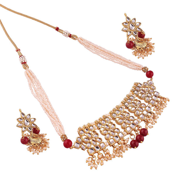 Gold Plated Traditional Antique Kundan Choker Necklace Set with Earrings for Women