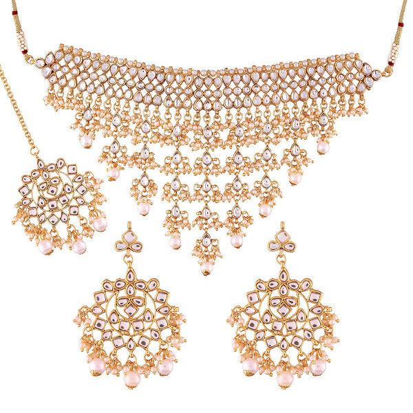 Gold Plated Kundan Pearl Fancy Choker Traditional Jewellery Set with Earrings for Women & Girls