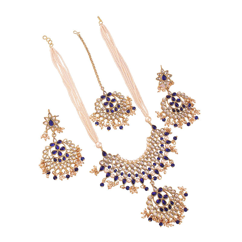 Gold Plated Traditional Kundan Pearl Antique  Necklace Set with Earrings & Maang Tikka for Women