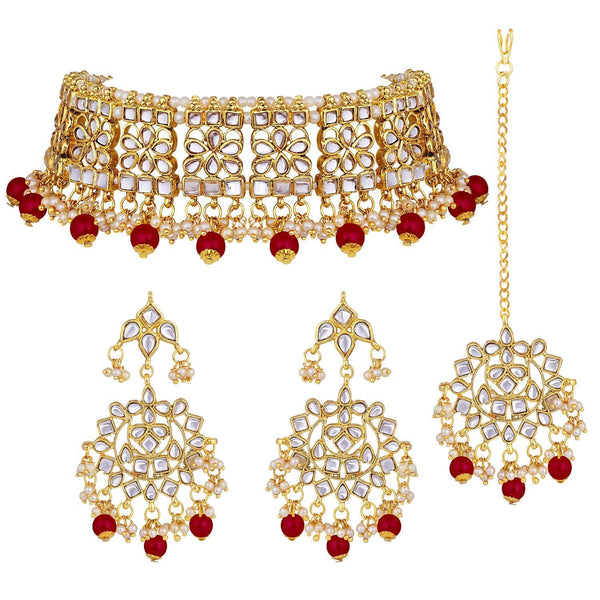 Traditional Gold Plated Kundan & Pearl Stylish Fancy Choker Necklace Jewellery Set for Women