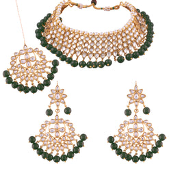 Traditional Kundan &  Green Pearl Choker Necklace Set for Women(K7075G)