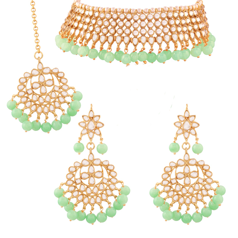 Traditional Kundan & Mint Green Pearl Choker Necklace Set for Women (K7075Min)