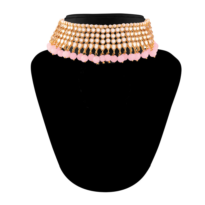 Traditional Kundan & Pink  Pearl Choker Necklace Set for Women (K7075Pi)